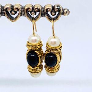 Vintage Gold/Black/Pearl Fish Hook Earrings